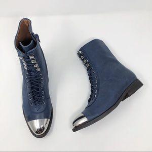 [Jeffrey Campbell] Blue Metal Cap Toe Combat Boots
